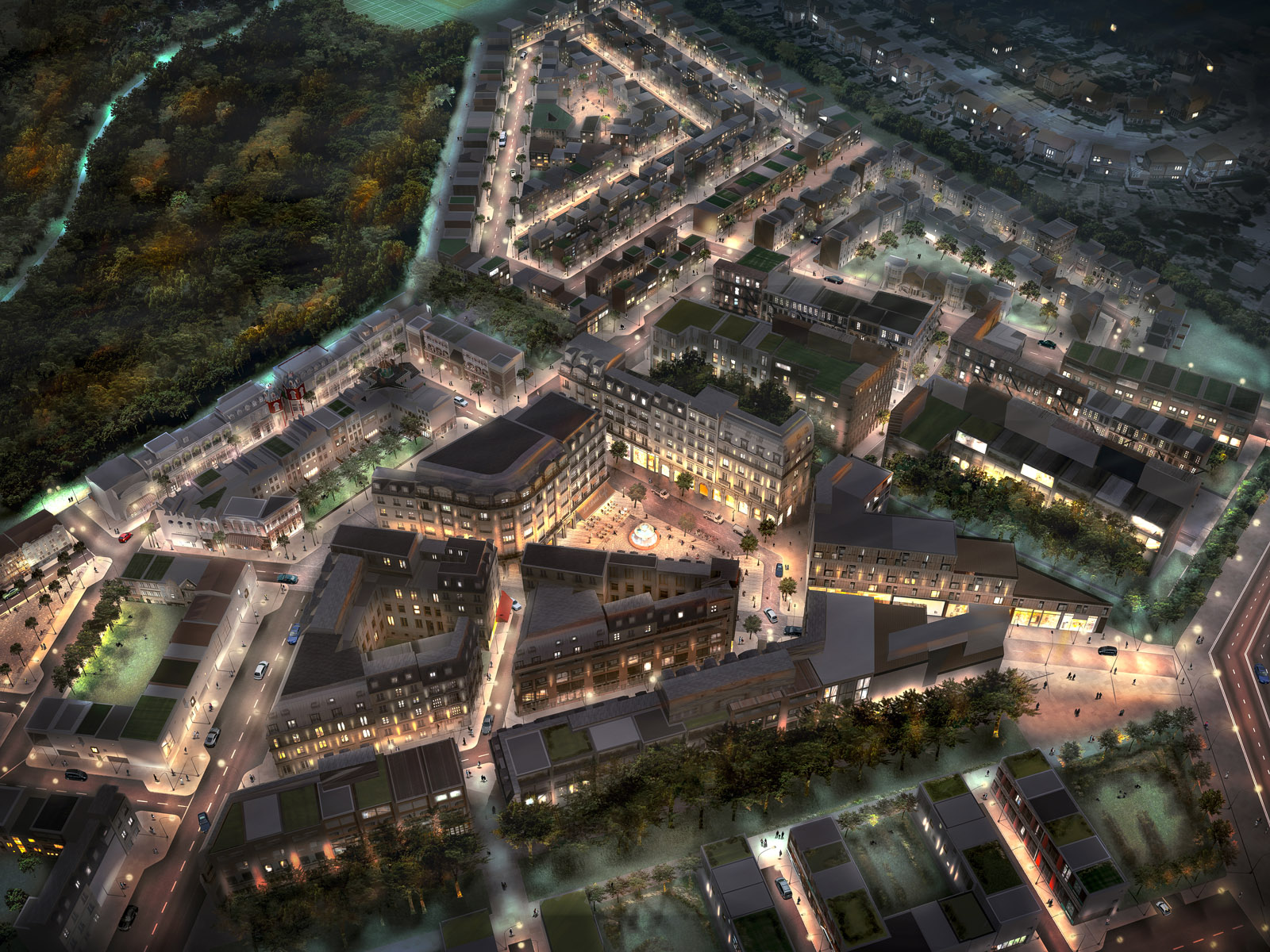 Pinewood Studios set aerial view